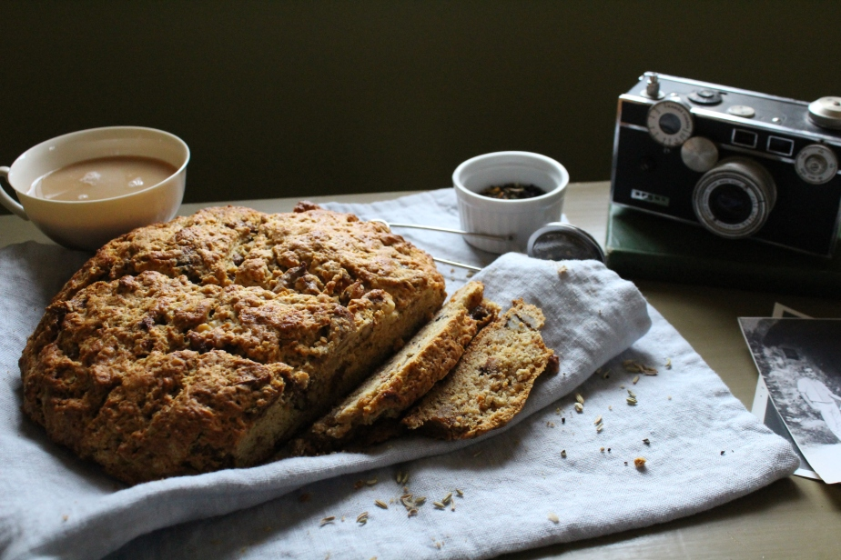 Gluten-Free Irish Soda Bread with Caramelized Walnuts and Figs