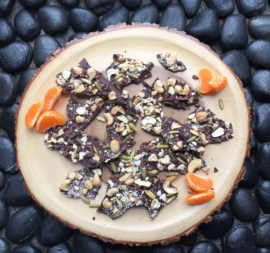 Dark Chocolate Bark with Nuts, Roasted Cacao and Pumpkin Seeds