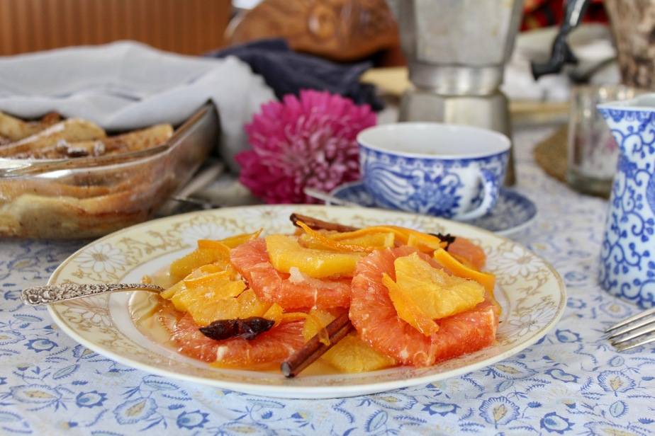 Oranges in a Star Anise and CinnamonSyrup